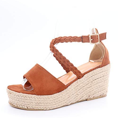 r Neu Omingkog Damen- und Damenmode Schnalle Casual Keilabsatz Schuhe gewebt Riemen High Heel Sandalen ()