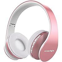 [versión actualizada] esonstyle over Ear auriculares, Bluetooth inalámbrico plegable auriculares con micrófono apoyo TF tarjeta/tarjeta de FM y AUX (rosa Golden)