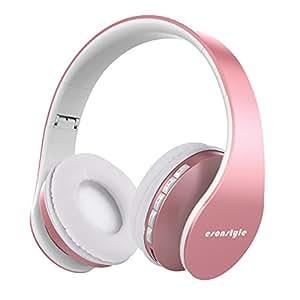 Esonstyle Cuffie Bluetooth, Cuffia Stereo Auricolare Pieghevole Senza Fili con Supporto Microfono Chiamata a Mani Libere e Scheda TF, Cavo Audio Incluso (Oro rosa)