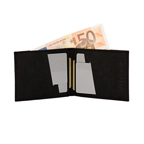 Kartenetui FRITZVOLD Kleiner dünner Geldbeutel aus Papier-Kunstleder - MINIMAL WALLET - kleine Geldbörse schwarz, Mini-Portemonnaie Herren und Damen, Kreditkartenetui, Scheckkartenetui, Brieftasche