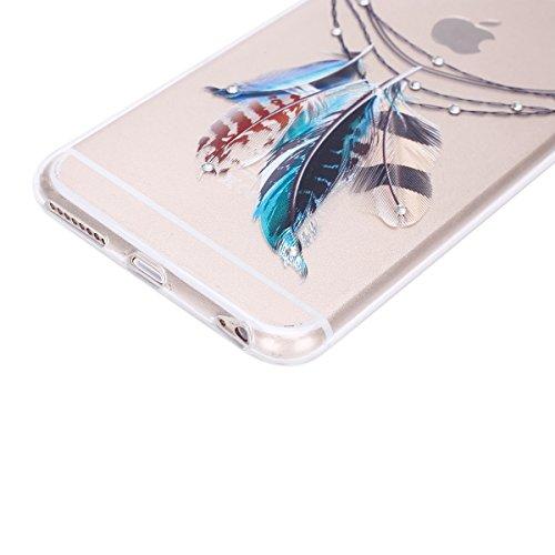 iPhone 6S Plus Hülle, iPhone 6 Plus Hülle, iPhone 6 Plus/6S Plus Silikon Schutz Handy Hülle Kratzfeste Tasche Handyhülle [Mit 1 X Frei Stylus Stift ], SainCat iPhone 6 / 6S Gel Case Weiche Bling Diama Diamant-Die vier Federn