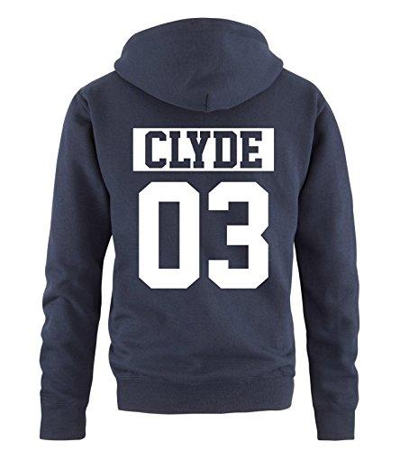 Comedy Shirts - CLYDE 03 - NEGATIV - Herren Hoodie - Navy / Weiss Gr. L (Disney Paare Sweatshirts)