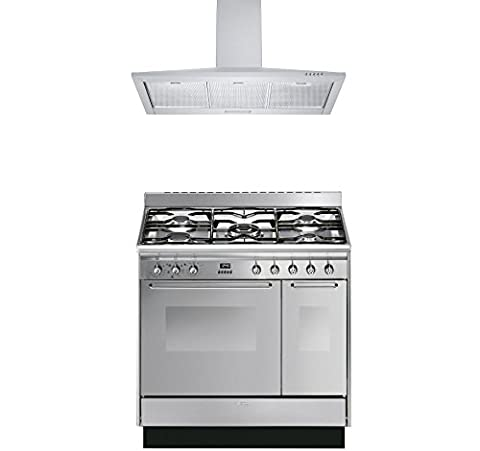 Smeg Range Cooker with Cookology Cooker Hood Pack - CC92MX9 Cucina Double Cavity 90cm Dual Fuel Range Cooker & Cookology 90cm Stainless Steel Cooker Hood