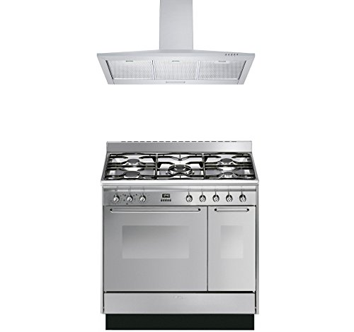 Price comparison product image Smeg Range Cooker with Cookology Cooker Hood Pack - CC92MX9 Cucina Double Cavity 90cm Dual Fuel Range Cooker & Cookology 90cm Stainless Steel Cooker Hood