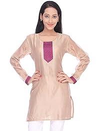 Viniyog Women Hand Woven Maheshwari Cotton-Silk Beige Kurti