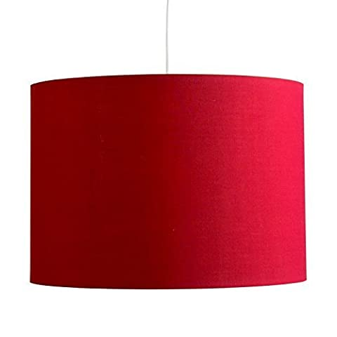 Large Modern Rolla Polycotton Red Cylinder Ceiling Pendant / Table Or Floor Lamp Drum Light Shade