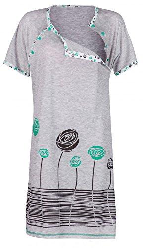 Happy mama. donna prémaman camicia da notte gravidanza allattamento fiori. 135p (verde, it 40, s)