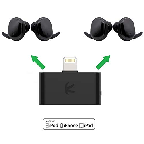 KOKKIA i10L_Plus_2AirBuds : i10L Bluetooth Transmitter Splitter Compatible with Apple iPhone,iPad,iPod Touch Plus 2 Sets AirBuds Touch True Wireless (TWS) Bluetooth Headsets. Ipod Touch Bluetooth-headset