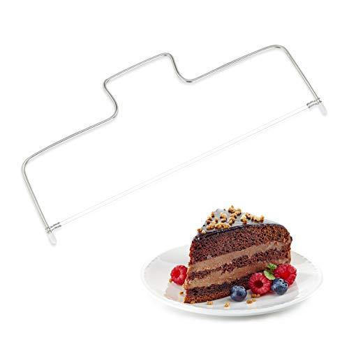 Relaxdays Tortenschneider Edelstahl, 2 Drähte, höhenverstellbar, Tortenbodenschneider, spülmaschinenfest, 34 cm, silber