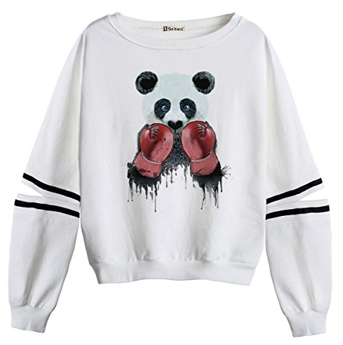 So'each Women's Panda Boxer Stripes Casual Sweater Pullover Sweatshirt (Stripe Tiger Mantel Baumwolle)