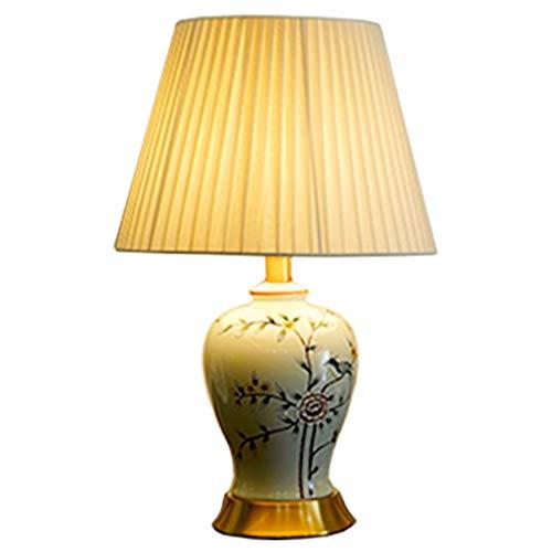 Lampe de table F Lampe de table Décoration de chambre idyllique avec lampe de chevet en céramique de cuivre