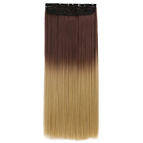 "Neverland Beauty 24"" 3/4 Voller Kopf-Haar-Verlängerungen Haarverlängerung Haarverdichtung glatt Klipp m / 5 Clips, Lang"