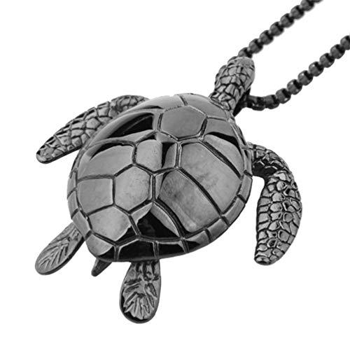 XBYN Männer Edelstahl Schildkröten Anhänger Halskette Meeresschildkröte Entwurfs Silber/Gold/Schwarz/Rainbow