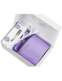 Rayures violettes Ensemble Cravate étanche d'homme Mouchoir épingle et boutons de manchette coffret cadeau