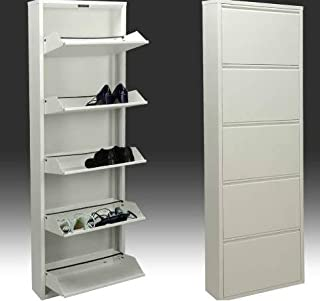 DRW Zapatero metálico de 5 Puertas, Aluminio, Blanco, 170x50x15 (B00CJCLZCY)   Amazon Products