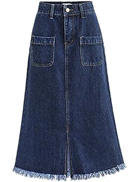 YuanDian Mujer Primavera y otoño Casual Grandes Tallas Falda Vaquera Cintura Elastica Stretch Borla División Denim...