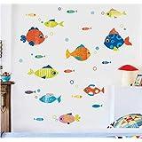 Habitación infantil de dibujos animados dormitorio del bebé pegatinas de pared de color peces pequeños decoración