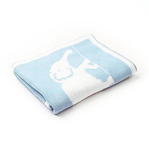 Gestrickte Decke werfen Kinder - Kleinkind Baby Cartoon Elefant Welle gestrickte Decke für Jungen und Mädchen 75x95 cm -