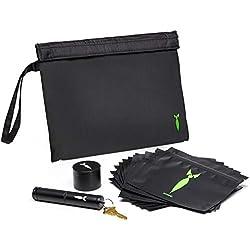 Discreet Kit de rangement avec 4 moulins à herbes et 3 pochettes résistantes aux odeurs et 1 tube hermétique en métal