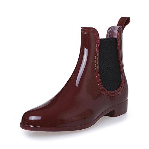 COFACE Damen Fashionable Regenstiefel Kurzschaft Stiefeletten Bequem Gummistiefel Reitstiefelette Rain Boot in 3 Farben für Frühling/Sommer,Red-40