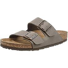 BIRKENSTOCK ARIZONA Birko-Flor Nubuck Wide, Unisex Adults' Sandals, Grey (Stone), 9.5 UK (44 EU)