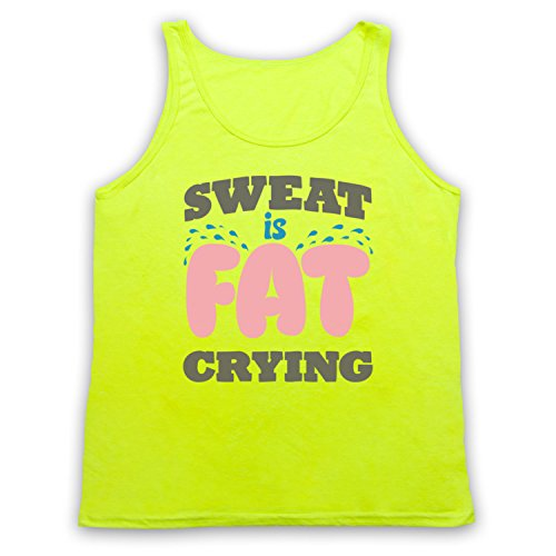 Sweat Is Fat Crying Gym Workout Slogan Tank-Top Weste Neon Gelb