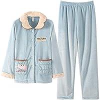 WYIKAI Pijamas La Mujer Otoño Invierno Fuera De La Camiseta Pajama Establece Franela Cartoon 2 Pieza Pijamas Longsleeved Home,M