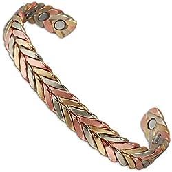 Wollet Jewelry Brazalete magnético de cobre trenzado tricolor, unisex, ideal para la artritis, incluye 6imanes, 16,5cm