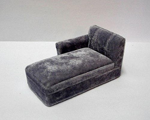 Sofa grau Polstermoebel Puppenhaus Möbel Miniaturen 1:12