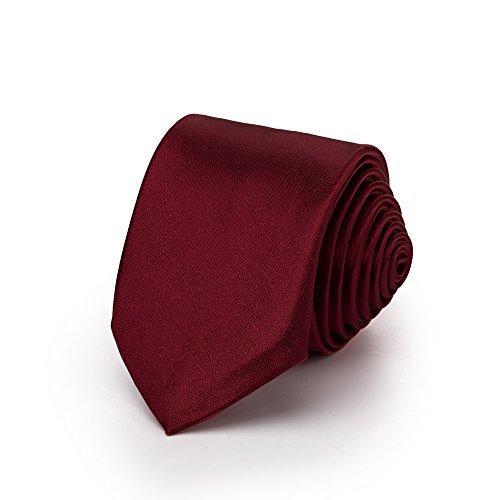 duenne krawatte Rusty Bob - Krawatte schmal/dünn 3cm-5cm für Herren [auch für Kinder/Jungen] (uni,nicht gestreift) aus Polyester glänzt wie Seide - Dunkelrot-Weinrot