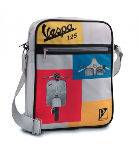 Preisvergleich Produktbild Original Vespa Tasche weiß/bunt mit Retro-Vespa