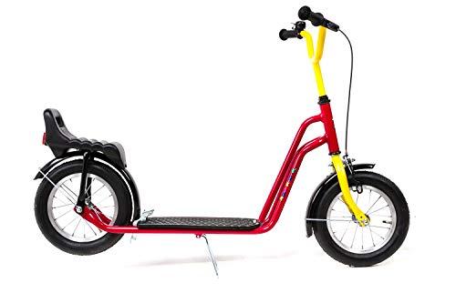 12,5 Zoll Tret Kinder Roller Scooter Easy Rider mit Luftbereifung und 2 Bremsen rot gelb
