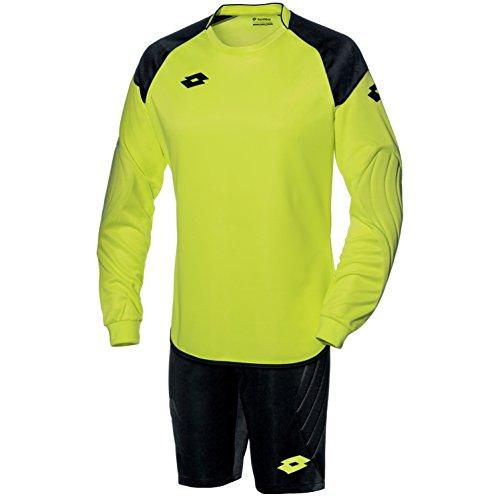 Lotto - Cross - Divisa da portiere maglia e pantaloni corto - Uomo (L) (Giallo neon/Nero)