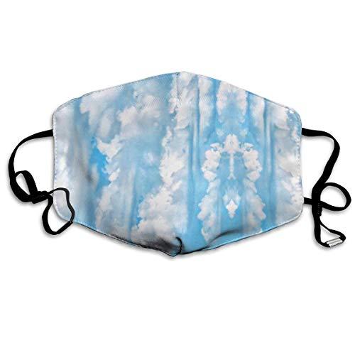 Daawqee Staubschutzmasken, Happy Sunny Clouds Light Blue Sky Background On A Anti Dust Face Mouth Cover Mask Respirator Cotton Protective Breath Healthy Safety Warm Windproof Mask (Cyborg Gesicht Für Kostüm)