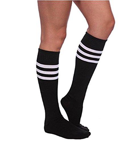 2 Streifen Socke (Bestland Damen Mädchen Fussball Stutzen Sport Socken Streifen Socken Strumpfhose Cosplay Socken - 2 Paar (Schwarz-Weiß))