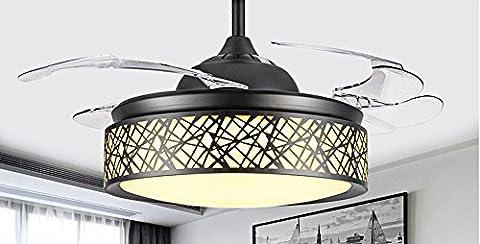 FGSGZ Stealth Deckenventilator Fan Light Und Minimalistischen Stil LED Home Decor Schwarz 36 Zoll Steuerung Wand Durchmesser 92 (Fan-wand Steuerung)