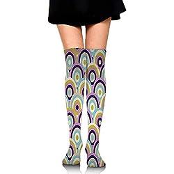 Diseño de Patrones fractales en calcetines de tubo. Elipse arcoiris.