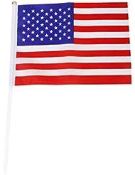 Mini Americain Drapeau - TOOGOO(R)Lot de 12pcs 21x14cm Mini Drapeau Americain USA Fanion avec Mats Rouge+Blanc+Bleu