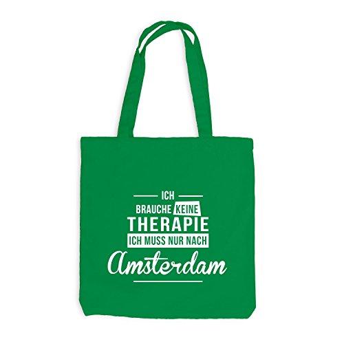 Jutebeutel - Ich Brauche Keine Therapie Amsterdam - Therapy Urlaub Holland Kellygrün