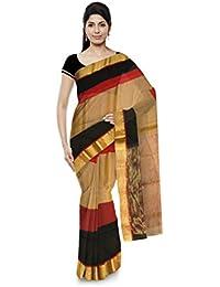 R K Chouhan Maheshwar Maheshwari Handloom Cotton & Silk Saree (Golden)