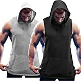 Coofandy Men's 2 Packs Tank Tops Shirts Workout Sports Hooded Vest Sleeveless Muscle Bodybuilding Gym Hoodie with Pocket