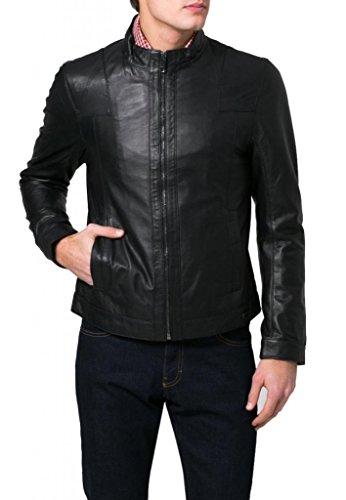Exemplar KC623 Men's Jacke schwarz Rindsleder leder Herren Lederjacke, Schwarz