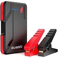 SUAOKI P4 Arrancador de Coche 500A, Jump Starter con Pinzas Inteligentes (hasta 5.0L Gas o 2.0L Diesel, USB Tipo C,QC 3.0 Puertos de Carga Rápida, 3 Modos de LED Multi Protecciones)