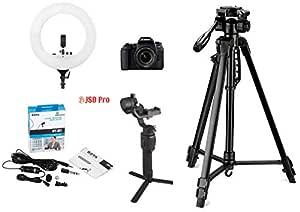 Canon EOS 77D Digital SLR Camera + EF-S 18-55 mm 4-5.6 is STM Lens, 16GB Card Vlogging Bundle with Digitek 550LW Tripod, Digitek 18 inch Ring Light, Boya BYM1 lavalier Microphone, DJI Ronin SC Gimbal