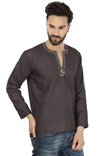 Maple Clothing Mode Shirt Brodé Mens Court Kurta Coton Inde Vêtements Carbone Noir