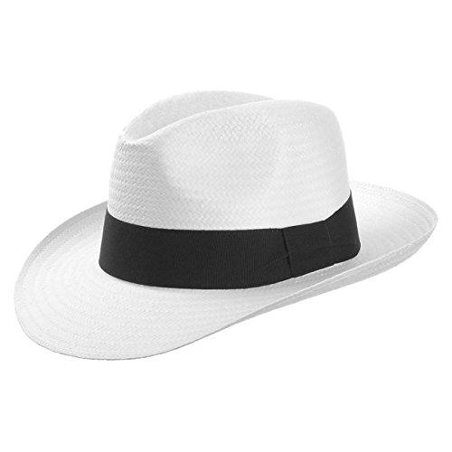White Mountain Strohhut (Bogarthut) aus Papierstroh Damen und Herren | Hut mit Ripsband | Sommerhut in weiß | Sonnenhut Größe L (58-59 cm) | Strandhut Frühling/Sommer