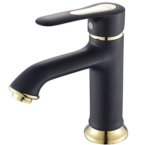 Moned Schwarze und Weiße Farbe Leiter aus Kupfer Wasserhahn für Waschbecken, Schwarz