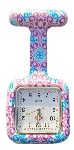Boolavard® TM Multi Farben Krankenschwester Brosche Fob Tunika Uhr Silikonhülle Krankenschwester Uhren (Quadrat Windung)