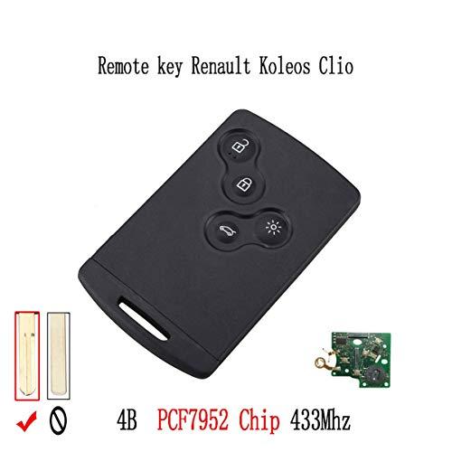 433 Mhz PCF7952 Chip 4 Pulsante Chiave A Distanza Chiave Smart Card Auto Per Renault Koleos Clio Megane Scenic Laguna