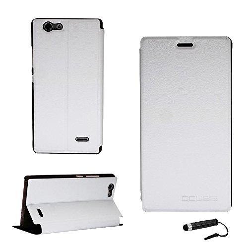 Tasche für Oukitel C4 Hülle, Ycloud PU Ledertasche Metal Smartphone Flip Cover Case Handyhülle mit Stand Function Weiß